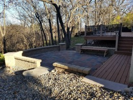 Deck and Paver Patio With Seat Wall