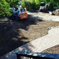 Paver walkway and yard installation.